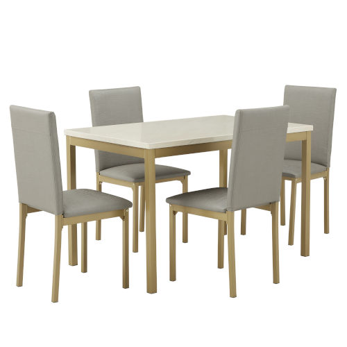 Stacy Gray and Gold 37-Inch Dining Set with Marble Top